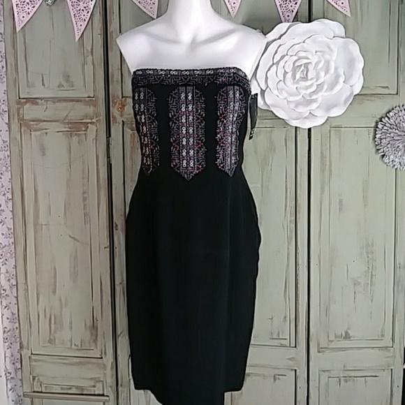 434af951186 Nwt David Meister black strapless beaded dress
